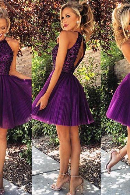 Custom Made Sweetheart Beaded Purple Royal Blue Short Graduation Dress,Lovely Purple Royal Blue Homecoming Dress/Cocktail Dress/Party Dress 2016,Short Formal Prom Dress