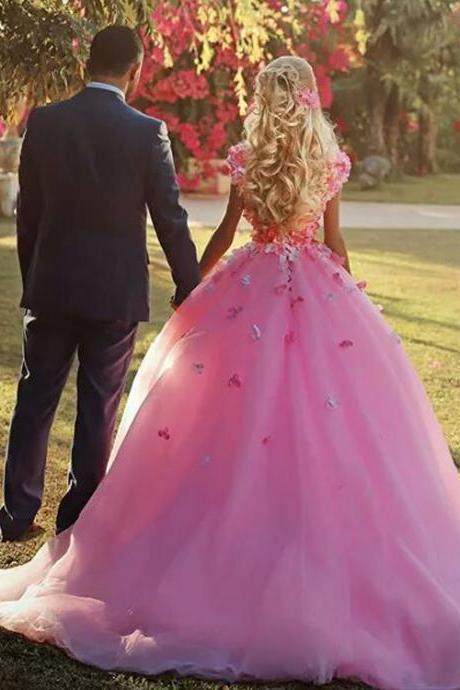 Flower Prom Dresses, Pink Prom Gowns, 3D Flowers Evening Dresses, V Neck Evening Gowns, A Line Prom Dress, Pink Evening Dress, Said Mhamad Special Occasion Dresses