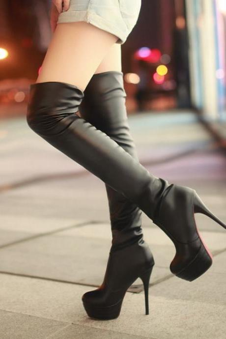 Chic Black Over The Knee Boots BTTHDCIZW33CMN00W1UQD CM7E9D2F44F