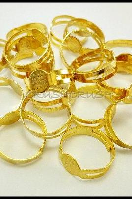 50pcs Gold Tone Adjustable Ring Blank Findings with pad C45