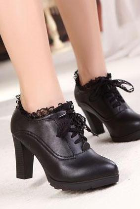 Lace With Leather High Heels Shoes PX7PGDFIFQ6S8FQVWMYZQ 8GJ0U7ZYVK6