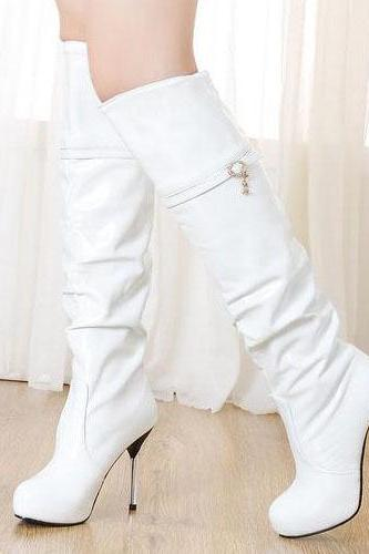 Over The Knee Cavalier White Winter Boots FF0OGZET4QF4AYM5TBD29 P1R182VSKO2