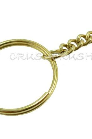 50pcs 24mm Gold Split KEY RINGS With Chain C48