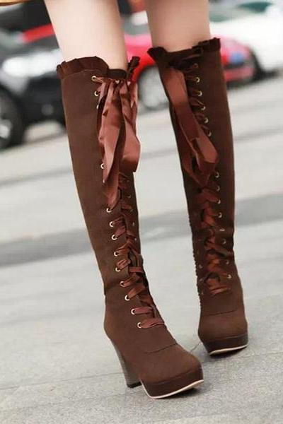 Sexy Bow Lace-Up Knee High Heeled Boots VRXANKW72O9EXFMYDBMFS 7309DPYPTQS