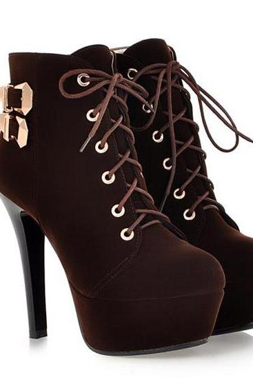 Sexy Brown Lace Up High Heels Ankle Boots DO2340BXKPV40G2XZEVYO AJPDL85FHWB