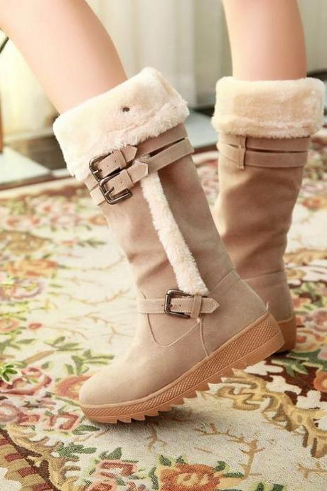 Stylish Suede Winter Boots In Apricot Color 4OTAM2324NNB7FRNS8XR1 G3B7V1UD27A