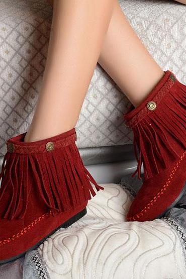 Hot sale winter Tassel Height Increasing Flat Boots