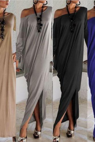 Stylish Skew Neck Straight Maxi Dress (4 colors)