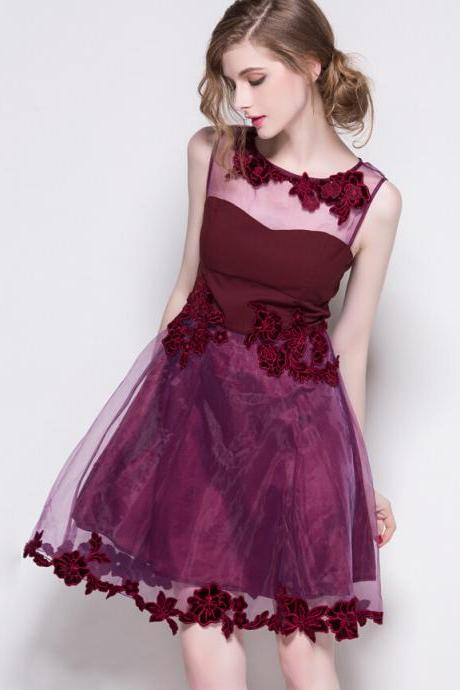 Organza Hollow-Out Floral Embroidery Sleeveless Dresses