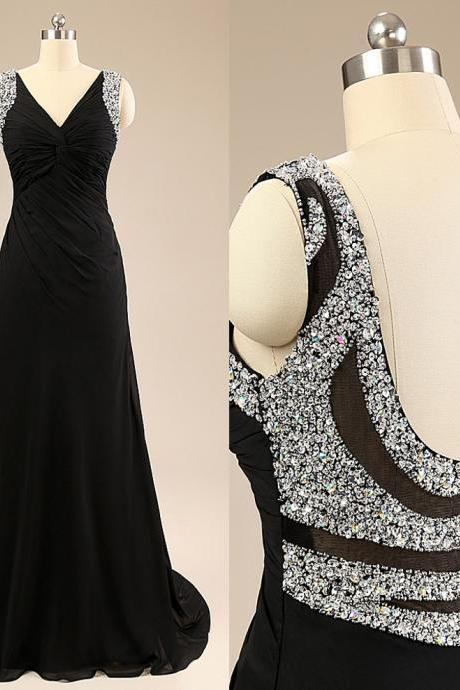 Elegant Black Long Chiffon Evening Dresses, A-Line V-Neck Backless Sequined Beaded Formal Party Dresses Women Gowns