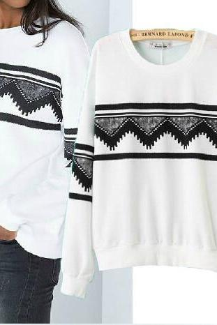 GEOMETRIC PRINTING FASHION SWEATER AD813DI