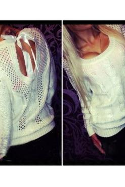 Fashion White Blending Regular Pullover Knitting Sweater