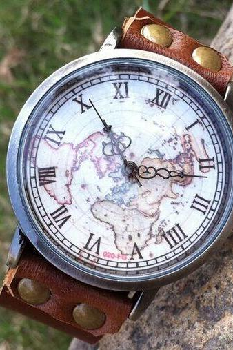 Geniune Leather Wrap Bracelet Watch World Map Watch Mens Watch Womens Wristwatch
