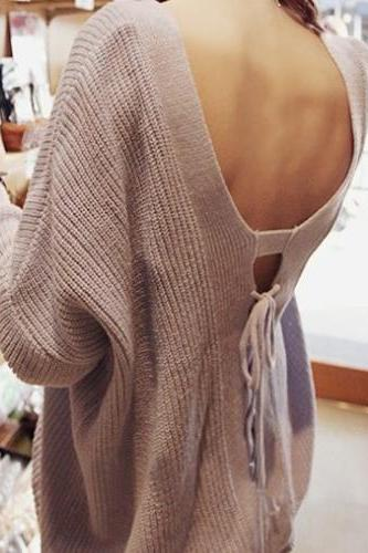 Sexy V Neck Backless String Tied Purple Cotton Blend Regular Pullover Sweater