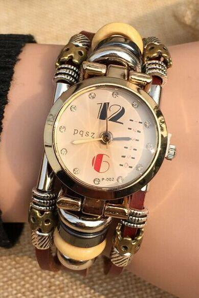 High Fashion Quartz Stainless Steel Buckle Watch Womens Wristwatch Genium Leather Watch