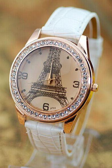 Fashion Rhinestone Effiel Tower Leather Watch Womens Wristwatches