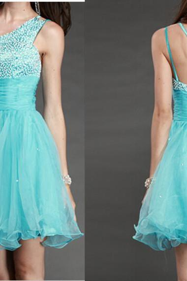 Beading Short/Mini Graduation Dresses ,Light Sky Blue One Shoulder Homecoming Dresses, Real Made Graduation Dresses, Evening Dresses On Sale