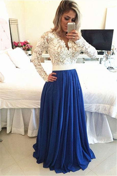 Sexy Deep V neck ivory lace top long dress prom,elegant evening dress with beaded belt,A line floor length party dress for wedding
