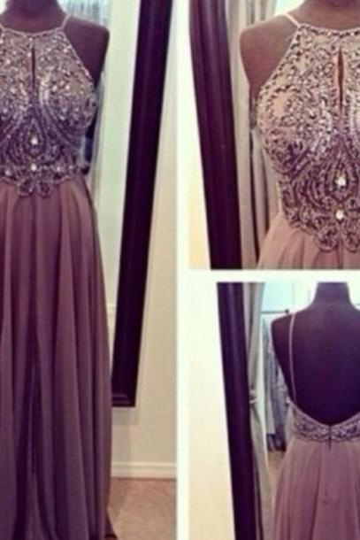 2016 High Quality A Line Grey/Gray Backless Long Prom Dresses, Straps Prom Gowns,Beaded Evening Dresses, Backless Evening Gowns, Cocktail Dresses Custom