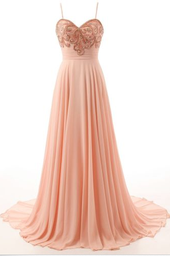 Women Retro Spaghetti Straps Chiffon Long Evening Dress, For Prom Dress