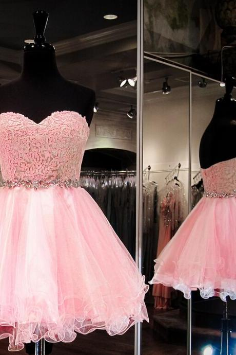 Charming Homecoming Dress ,Organza Homecoming Dress, Lace Homecoming Dress ,Sweetheart Homecoming Dress