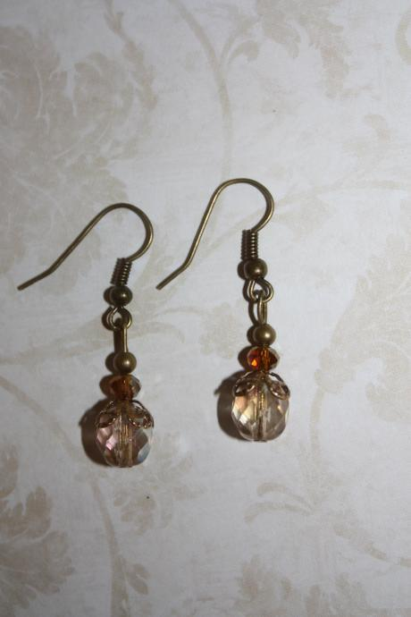 Vintage Amber Czech Glass Antique style Dangle Earring