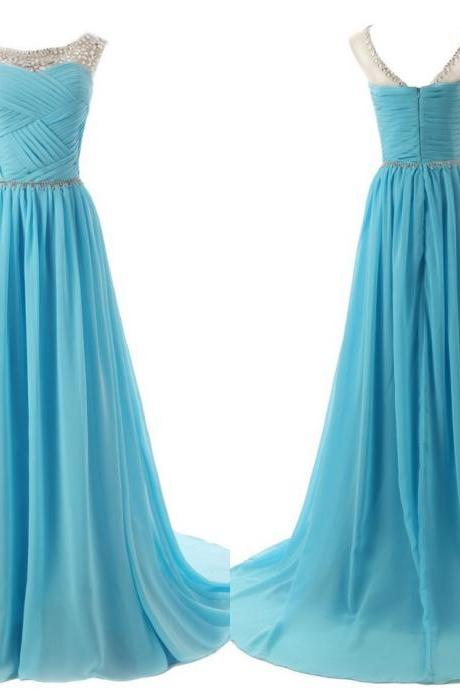 The Chiffon Charming Prom Dresses, Floor-Length Evening Dresses ,Prom Dresses, A-Line Real Made Prom Dresses On Sale
