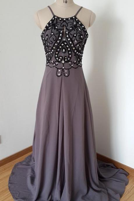 High Quality Prom Dress A-Line Prom Dress Chiffon Prom Dress Backless Prom Dress Beading Prom Dress