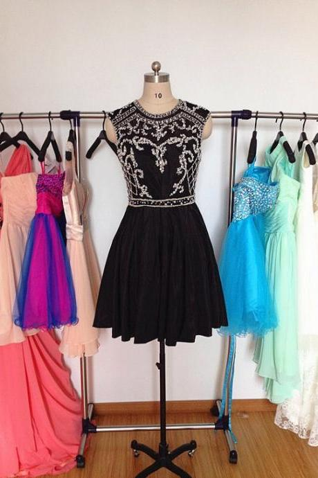2015 Black Homecoming Dress Taffeta Beading MINI Cocktail dress Fashion Party Dresses Beading Prom Dresses