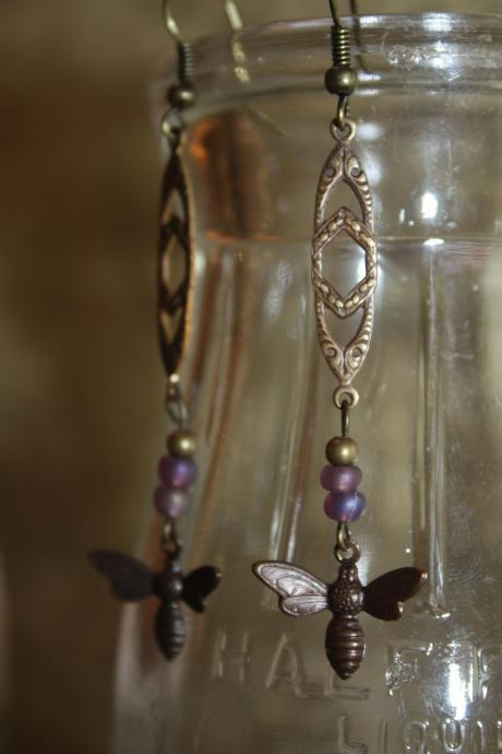 Antique Brass and Czech Glass Bee Charm Earrings