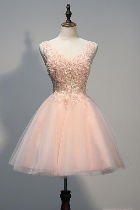 Appliques Homecoming Dress V-Neck PROM DRESS PINK TULLE SHORT DRESSES MINI New Arrival PARTY DRESSES
