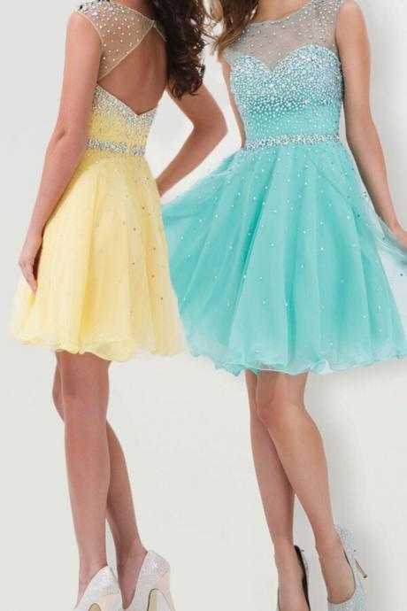 Beading Graduation Dresses, Short/Mini Graduation Dresses, Real Made Homecoming Dresses, Chiffon Sequins Homecoming Dresses, Dresses Homecoming Dresses On Sale