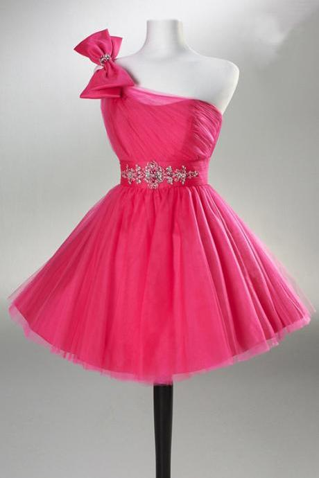 Eveing dresses One-Shoulder Homecoming Dress TULLE PROM DRESS Short A-Line DRESSES MINI PARTY DRESSES
