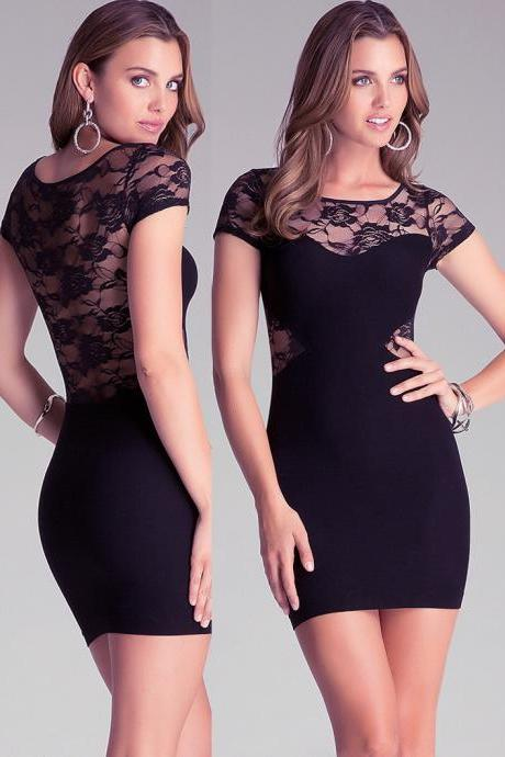 Sheer Lace Back Black Bodycon Mini Dress