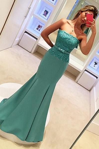 Strapless Lace Applique Mermaid Prom Dress Long Evening Party Dresses Formal Dress