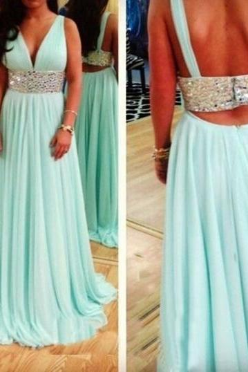 Sexy 2017 Open Pretty Open Back Beading Mint Long Prom Dresses Homecoming Dresses