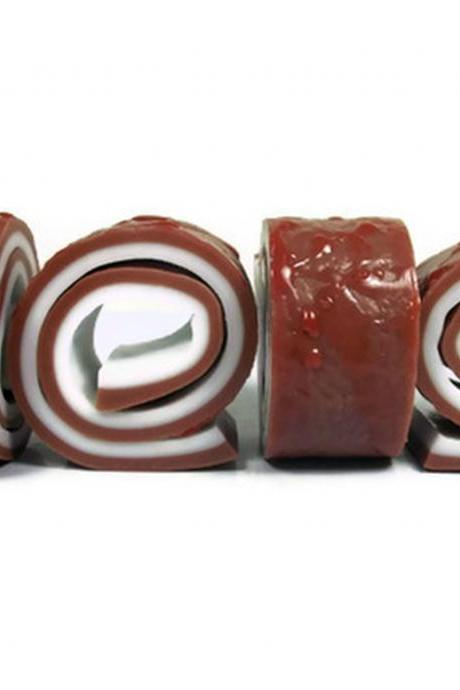 Chocolate Cake Roll Soap with Strawberry Sauce