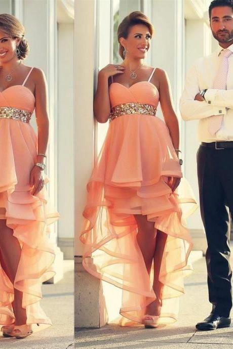 2016 Coral Ruffles Prom Party Gown ,Sweetheart Spaghetti Straps With organza Waist Short Prom Dresses ,Hi-Lo Cocktail Dresses