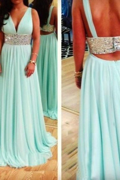 Sexy Mint Green Floor Length Open Back Chiffon Prom Dresses ,2016 Green Prom Dresses, Prom Dresses, Evening Dresses