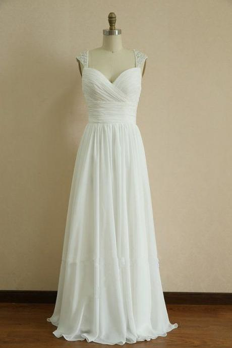 Ruched Chiffon Sweetheart Beaded Embellished Shoulder Straps Floor Length A-Line Prom Dress, Bridesmaid Dress