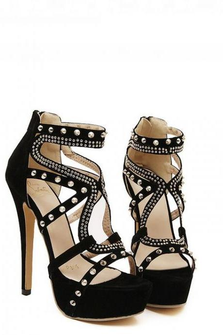 Sexy Rivets Design Black High Heels Shoes