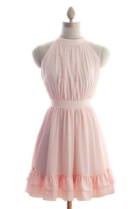 Pretty Chiffon Pink Halter Short Prom Gown, With Bow Cute Short Prom Dresses ,2016 Bridesmaid Dresses ,Formal Dresses, Homecoming Dresses, Graduation Dresses