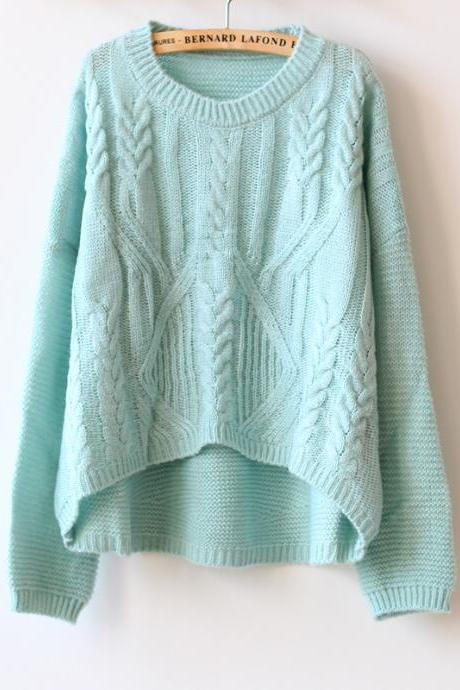 Sweet round neck long-sleeved knit sweater DX91007GF