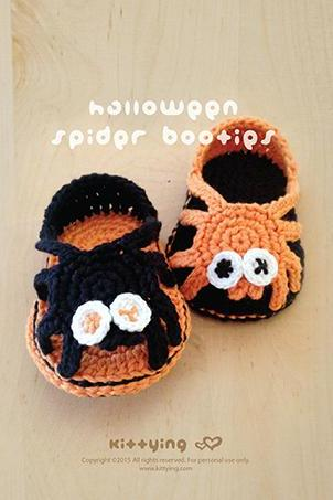 Crochet Baby Pattern Halloween Spider Carefree Sandals Spider Baby Booties Spider Newborn Sandals Spider Baby Slippers Spider Applique