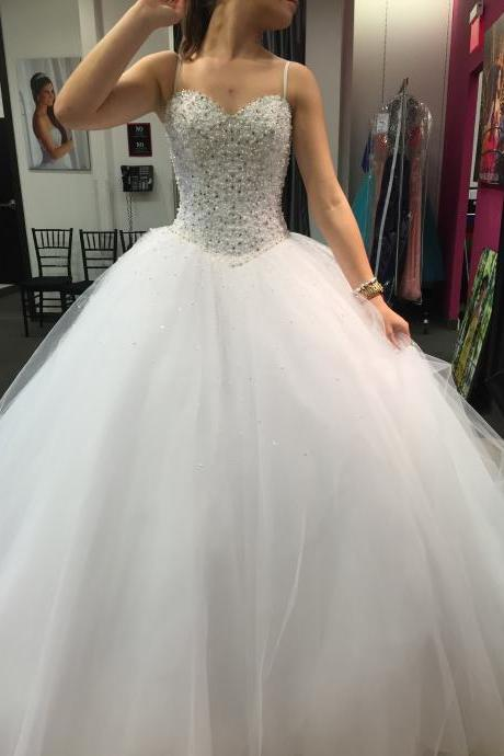 Spaghetti Strap Sweetheart Beaded Floor-Length Ball Gown Wedding Dress Featuring Lace-Up Back