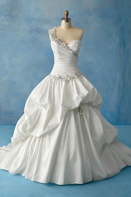 2019 Wedding Dresses,One Shoulder Wedding Dresses, 2019 Pleat Wedding Dresses,Plus Size Wedding Dresses,Wedding Gowns,Bridal Gowns