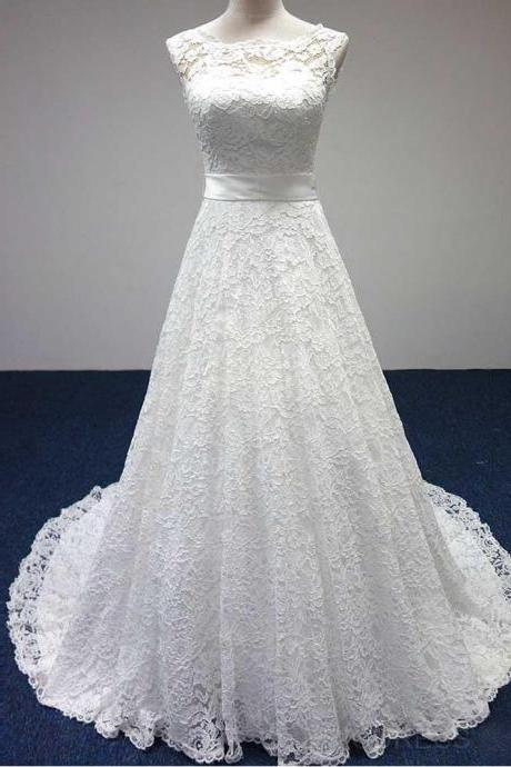 Sleeveless Lace A-line Wedding Dress, Bridal Gown