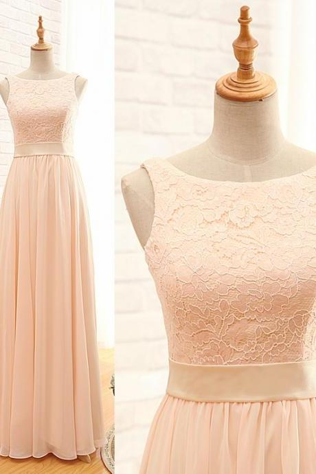 Long Blush Bridesmaid Dress,Lace Bridesmaid Dresses,Full Length Blush Lace Prom Dress,Lace Evening Dress