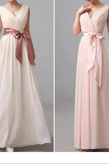 Ivoryt Sleeveless Long Bridesmaid Gown, Blush Chiffon Bridesmaid Dress, V- Bridesmaid Dresses ,Champagne A-Line Bridesmaid Gown