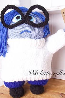 "Inside out ""SAD"" soft toy knitting pattern"